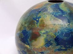 Blown Glass Vase Blue Globe Earth Map Illustration by AvolieGlass
