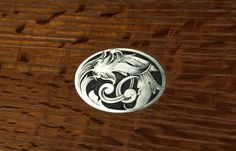 Engraved and Handmade Oak Box Medallion, Nickel Silver, John Cameron Japanese Sword, Metal Engraving, Nickel Silver, Metal Working, Box, Handmade, Snare Drum, Hand Made, Metalworking