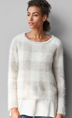 Brushed alpaca mohair check sweater.