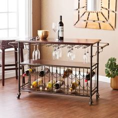Buy Bar Cart with Glass and Bottle Support, Metal Kitchen Cart Rolling Furniture Island. Portable Pool Bar Great Dining Room Accesories with Storage for Wine. Espresso Shelves with Black and Brushed Gold Frame Drinks Rack Wooden Bar Cart, Top Kitchen Designs, Kitchen Cart, Wine Rack Storage, Metal Kitchen, Bar Furniture, Wine Storage, Wooden Bar, Best Kitchen Designs