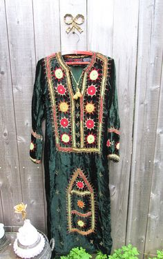 Vintage Dress Boho Dress Bohemian Dress Embroidered Hippie Dress Festival Clothing Free People Style Velvet Ethnic Mirrored Cotton Dress