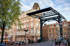 Staalstraat Bridge on Kloveniersburgwal canal, city of Amsterdam, Netherlands, North Holland province.
