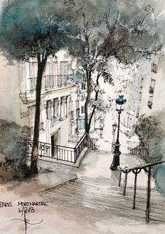 MONTMARTRE rue Chappe Beautiful illustration of Paris You are in the right place about Architecture watercolor modern Urban Sketchers, Watercolor Drawing, Watercolor Landscape, Watercolor Paintings, Watercolor Trees, Watercolor Portraits, Drawing Drawing, Watercolor Artists, Architecture Drawing Sketchbooks