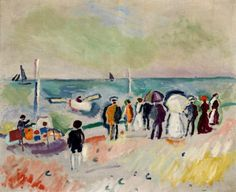 https://flic.kr/p/91kkbU | Dufy, Raoul (1877-1953) - 1906c. At the Beach (Sotheby's New York, 2010) | Oil on canvas;    54 x 65 cm.  In 1900 Dufy went to Paris to attend the École des Beaux-Arts. He painted in an Impressionist style in his early work, but by 1905 he had begun to employ the broad brushstrokes and bright colors typical of the Fauve artists. A 1907 exhibition of Paul Cézanne's work convinced Dufy to adopt temporarily more subdued colors and structured compositions. He worked…