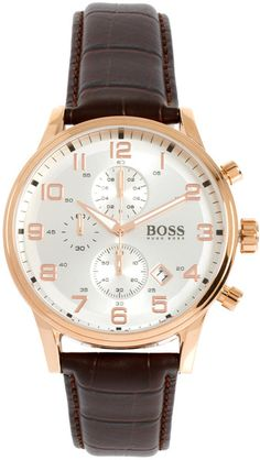 Hugo Boss Leather Brown Chronograph Watch in Brown for Men