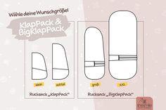 Rucksack KlapPack und BigKlapPack von shesmile. 2 E-Books mit jeweils 2 Größen. Von klein, über mittel, groß bis XXL. Wähle deine Lieblingsgröße!