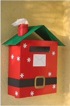 letters to Santa mailbox Preschool Christmas, Christmas Activities, Christmas Crafts For Kids, Christmas Projects, Holiday Crafts, Christmas Decorations, Office Christmas, Noel Christmas, Winter Christmas