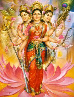 Mother Goddess 'Tri-Devi' ('Triple-Goddess') - Three Manifestations of the Hindu Goddess 'Parvati' - Divine Mother 'Durga' [Center] shown together with 'Saraswati' [Right] and 'Lakshmi' [Left]. Divine Mother, Mother Goddess, Sacred Feminine, Feminine Energy, Religion, Durga Goddess, Divine Goddess, Durga Maa, A Course In Miracles