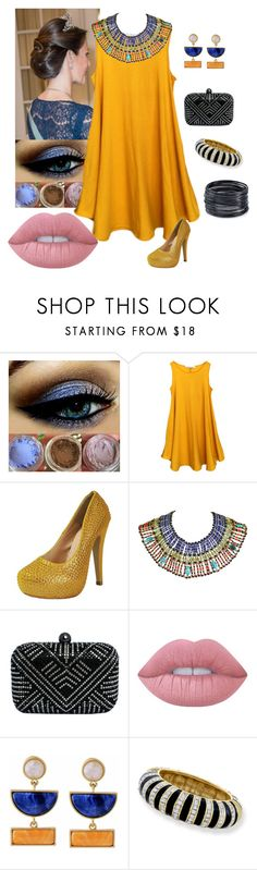 """""""Bedazzled"""" by chicastic on Polyvore featuring Lime Crime, Kakao By K, Kenneth Jay Lane and ABS by Allen Schwartz"""