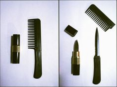 Hidden knife within a comb