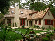 Tudor style stucco home with deatils