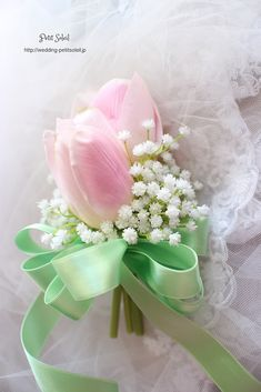 Tulip and Baby's Breath boutonniere