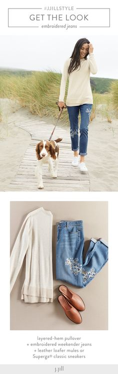 Get the look featuring J.Jill's embroidered weekender jeans. Style with a layered sweater in oatmeal heather, fall's perfect neutral shade. Keep it casual with a white fashion sneaker or wear to work with a leather loafer mule.
