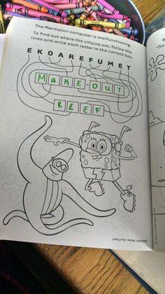 Sponge Bob coloring book fail Sponge Bob, New Hobbies, Coloring Books, Fails, How To Find Out, Bullet Journal, Writing, Vintage Coloring Books, Spongebob