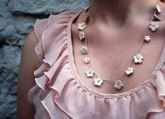 Handmade daisy chain-Womens necklace - white porcelain blossom flowers - ceramic jewellery - spring wedding garland