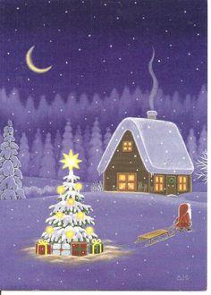 christmas cabin by swedish illistrator Eva Melhuish