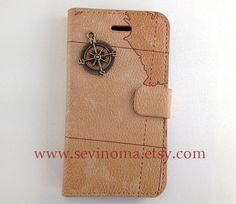 iphone cases, case iphon, iphone 4s, leather iphon, brass compass, iphon 4s, iphon case, map, iphone 4 cases