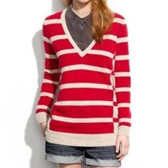 Striped Wallace by Madewell Cashmere Wool Sweater This is an awesome striped v-neck sweater from Wallace by Madewell. It is a boyfriend fit sweater which means that it is slightly longer and a bit on the roomy side. Features a lovely v-neck and a red and beige striped design with long sleeves. It also has inverted raw seams at the front and back sides for a pretty accent. Wool, cashmere, and rabbit hair blend so it's nice and soft while also being warm. Madewell Sweaters V-Necks
