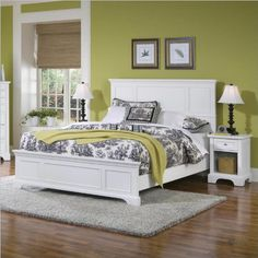 Home Styles 5530-5013 Naples Queen Bed and Night Stand, White Finish