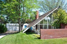 mid-century modernist A-frame house | via ModCoHo