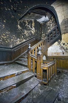 Worcester State Hospital - looks like the staircase in American horror story Asylum