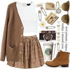 really like the skirt & cardigan