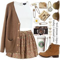 really like the skirt & cardigan