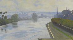 Félix Vallotton (Swiss, 1865 - 1925)  La Seine à Mantes, 1917  Le Claire Kunst, Hamburg, Germany