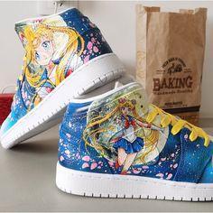 Sailor Moon Anime Air Jordan 1 Custom Jordans, Custom Sneakers, Sneakers Nike, Painted Canvas Shoes, Hand Painted Shoes, Jordan 100, Shoe Last, Unique Christmas Gifts, Adidas Stan Smith