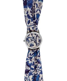Large Blue Lodden Print Silver Knot Watch. Shop more Liberty print watches from Liberty.co.uk
