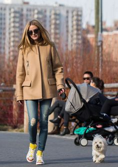 Olivia Palermo Walking her dog in New York, March 24, 2016