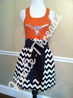 UT Texas Longhorns tank gameday dress by Haute Threads Boutique - made from YOUR favorite tee or tank!  www.hautethreadsboutique.com
