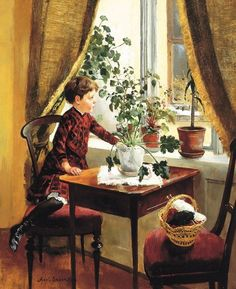 """""""At the Window"""" -- by Axel Ender (1853 – 1920, Norwegian)"""