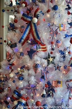 of July Decorating Ideas: Decorate a Tree – Between Naps on the Porch Blue Christmas, Christmas Themes, Christmas Decorations, Mickey Christmas, Military Decorations, 4th Of July Decorations, Realistic Artificial Christmas Trees, Holiday Tree, Holidays And Events