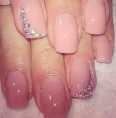 Pale pink nails with diamonds