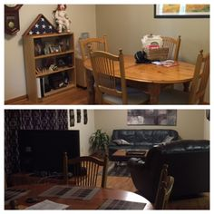 Before and After  The before picture on top had dining room to far right. Furniture has been re-arranged, Added metal art, added new picture behind couch, added new area rug, added throw pillows.   All for around $300.