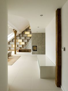 The Modern Minimalist Rounded Loft Apartment by A1 Architects : Contemporary Rounded Loft Apartment Interior (Photo 02) Living Room Corridor
