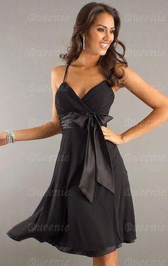Neues knielanges schwarzes Chiffon Cocktailkleid Abendkleid LFNAE0017-Queeniekleid.de