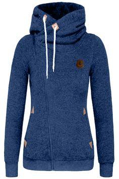 Fashion Turtleneck Oblique Zip Drawstring Hooded Sweatshirt OASAP.com