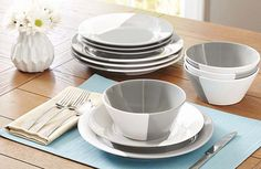Better Homes and Gardens Color Dipped 12-Piece Dinnerware Set Grey & Better Homes and Gardens Indigo Swirl 12-Piece Dinnerware Set Blue ...