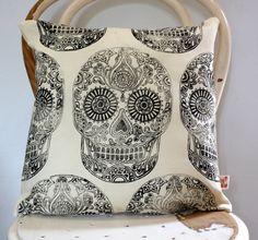 Sugar Skull Halloween Hand block printed scatter by KerryCherry