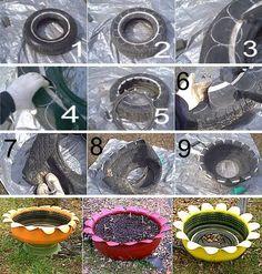 Bac à fleurs en pneu                                                                                                                                                                                 Plus