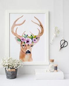 Woodland crèche aquarelle de cerf de par PrintableLifeStyle sur Etsy