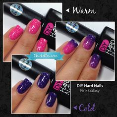 I have a brand new soak-off gel polish brand to share with you today called DIY Hard Nails. Their polish line includes glitters, shimmers and color changing gels. Diy Hard Nails, Diy Nails, Cute Nails, Pretty Nails, Mood Changing Nail Polish, Color Changing Nails, Color Change Nail Polish, Nail Polish Colors, Gel Polish