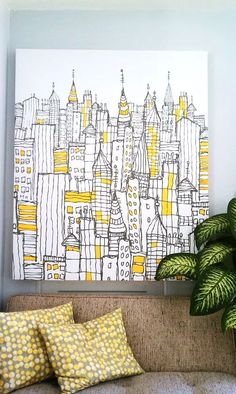 Effective DIY Wall Art Ideas cool wall art idea/Can you see this as quilting on a whole cloth quilt?cool wall art idea/Can you see this as quilting on a whole cloth quilt? Yellow Canvas Art, Diy Canvas Art, Yellow Wall Art, Canvas Paintings, Yellow Artwork, Simple Paintings, Black And White Wall Art, Colorful Wall Art, Canvas Crafts