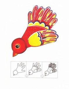 Рисование ладошками для детей. Схема - птица