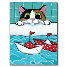 Papiersegel-Boote - Kaliko-Katzen-Kunst-Postkarte Postkarte