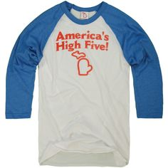 Michigan knows how to have fun. We're shaped like a hand, after all. High five, America! Super soft cotton/poly (50/50) heather blue and white baseball shirt. Designed in Michigan by The Mitten State. Made in USA.
