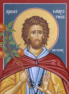 icon found in Orthodox kitchens : Saint Euphrosynos the Cook. Religious Images, Religious Icons, Religious Art, Byzantine Icons, Byzantine Art, Saint Esprit, Religious Paintings, Christian Religions, Les Religions