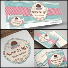 Identidade Visual para Confeitaria, Logotipo para Confeitaria, Capa Facebook Confeitaria, Cartão de Visitas Confeitaria, Tag Confeitaria.